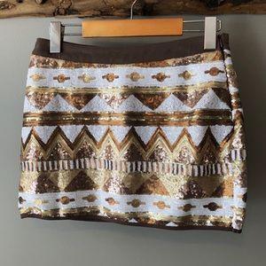 NWT Double Zero | Sequins Aztec Print Skirt